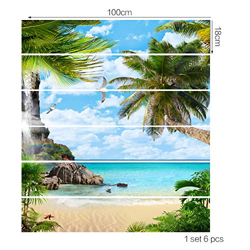 Wasserdichte Aufkleber 3D Wandaufkleber auf der Insel der DIY, Kokospalmen und Seevögel Muster Treppen Aufkleber Heimtextilien -