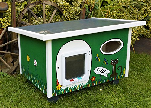 Katzenhaus mit Katzenklappe handbemalt, individuell (Grün)