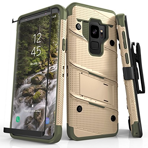Zizo Bolt Series Galaxy S9 Case - Full Curved Glass Screen Protector with and 12ft Military Grade Drop Tested (Desert Tan & Camo Green) -