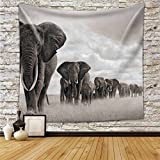 """Elephant Tapestry Elephant Walking On The African Savannah Wall Hanging Tapestry - Polyester Fabric Wall Art Tapestries Home Decor - 59"""" x 51"""" Inches Inches"""