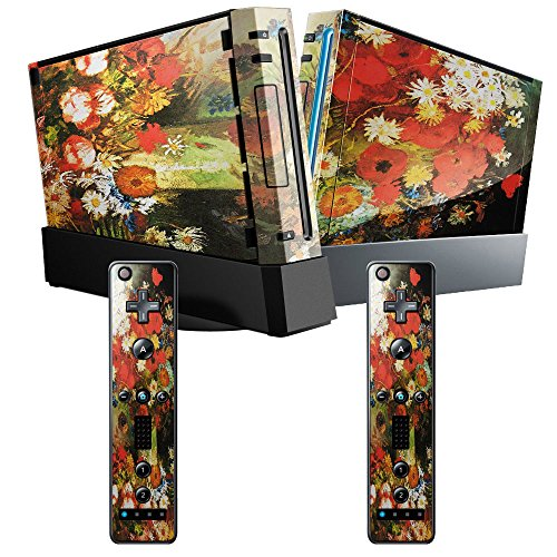 Price comparison product image Van Gogh - Vase With Cornflowers And Poppies Peonies And Chrysanthemums, Skin Sticker Vinyl Cover with Leather Effect Laminate and Colorful Design for Nintendo Wii