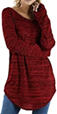 MEIbax Damen Plus Größe Einfarbig Round Lange Bluse Pullover Tops Shirt Baggy Tunika