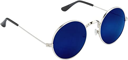 Hupshy Uv Protected Round Unisex Sunglasses - (H-Sg-Rnd-Blu-Slvr-09|Blue)