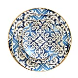 origin-AL Home & Style OZYOL -FESTIVAL- Platzteller Porzellan Blau mit 12k echtem Goldrand | Kuchenteller | Servierteller | Teller | Tischservice | (Ø20)