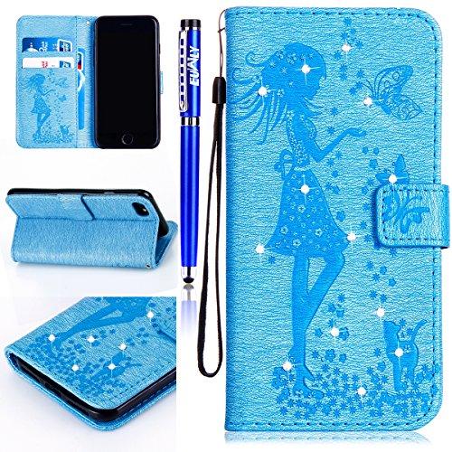 FESELE iPhone 6 Plus / 6S Plus coque Bling bling en cuir PU mousseux couverture avec strass Diamant Belle femme de papillon de chat motif fleur de peinture étui en cuir PU Cuir Flip Magnétique Portefe Bleu