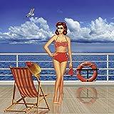 Artland Qualitätsbilder I Wandbilder Selbstklebende Wandfolie 100 x 100 cm Menschen Frau Mixed Media Blau C7GM Schönheit aus der 50er Jahren im Bikini