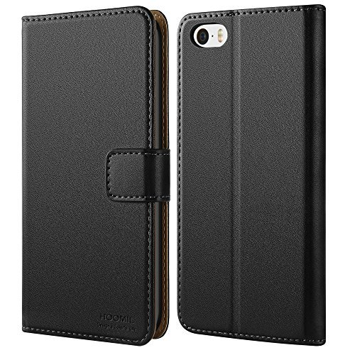 iPhone SE Fall, iPhone 5S Fall, hoomil Premium Leder Case für Apple iPhone SE/5/5S Handy Wallet Case Cover, iPhone SE/5/5S, iPhone 5/5S/SE Black