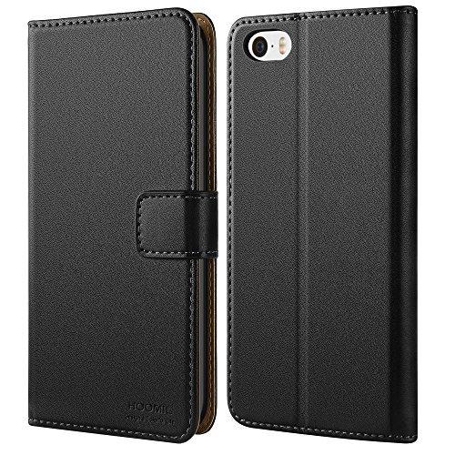 iPhone SE Fall, iPhone 5S Fall, hoomil Premium Leder Case für Apple iPhone SE/5/5S Handy Wallet Case Cover, iPhone SE/5/5S, iPhone 5/5S/SE Black - Iphone Fall Flip-telefon