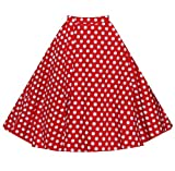 YuanDian Damen 50er Retro Vintage Audrey Hepburn A Linien Rockabilly Röcke Knielang Swing Ausgestellter Faltenrock Blumen Mid Röcke Rot Punkte S