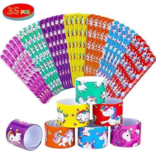 Ucradle Pulsera Bofetada, 35 Piezas Unicornio Slap Bracelets, Snap Pulsera, Banda de Pulsera, Fiesta Juguetes de Infantil Rellenos de Bolsa de Fiesta para niños niñas
