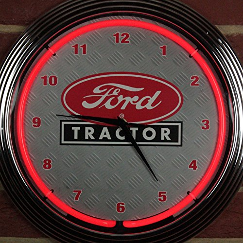 Icon Neon Ford Traktor Wand clock-real (LED), Garage, Büro, rot, Neon Glas, mehrfarbig, 38cm Durchmesser x 8cm Tiefe