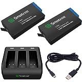 Smatree Batteria (Pacco da 2) con Caricabatterie a 3 Canali Compatibile con GoPro Hero Max
