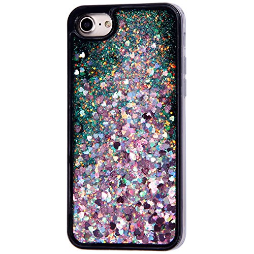 Coque iphone 7 Flüssigem,Luxe Coque iPhone 7,iphone 7 Bling Bling Gliter Sparkle Housse,Ekakashop Creative 3D Motif Grand Amour Noir Rouge Dual Layer Transparente Clair Cristal Clear étui Shiny Brilla Amour Sable de Couleur Rose