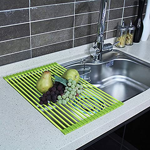 HOME&CO [SGS-certified] Over the Sink Dish Drying Rack Foldable [Non-slip] Silicone Roll-Up Compact Mat Dish Drainer 52.1 cm (L) x 33.3 cm (W) - Green