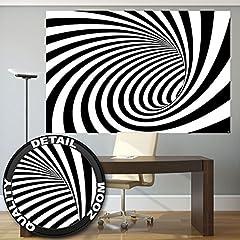 Idea Regalo - Tunnel 3D in bianco e nero fotomurale decorazione da parete by GREAT ART (210 x 140 cm)