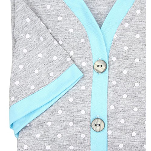 Alkato Damen Kurzarm Stillnachthemd V-Ausschnitt Knopfleiste Tupfen Grau