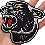 Aufnäher Aufbügler Iron on Patches Applikation Panther Kopf schwarz XXL Back Patch Large