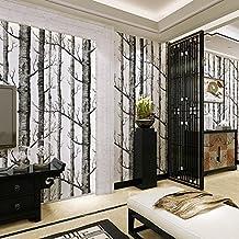 HAPPY ELEMENTS Bosque del abedul moderna del árbol rústico minimalista Negro Maderas blancas del papel pintado del rollo