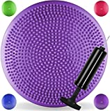 JLL® Inflatable Air Stability Balance Wobble Cushion with Free Pump Available in 4 colours: blue, purple, green or hot pink