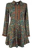 Guru-Shop Blusenkleid, Boho Tunika, Damen, Petrol, Synthetisch, Size:S/M (36), Kurze Kleider Alternative Bekleidung