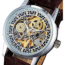 Lightinthebox@ CJIABA Fashion Hollow-out Round Dial Automatic Mechanical Wrist Watch with PU Band for Men (Brown)