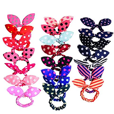Pangda 22 Pieces Rabbit Ear Hair Tie Ponytail Bow Bands, 22 Patterns