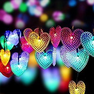 Heart String Lights, EONANT Im Freien Herz Lichter 30LED 19.7ft Wasserdicht mit 8 Modus Arbeitsbeleuchtung für Weihnachtsbaum Party Hochzeit Garten Schmücken (Multicolor)