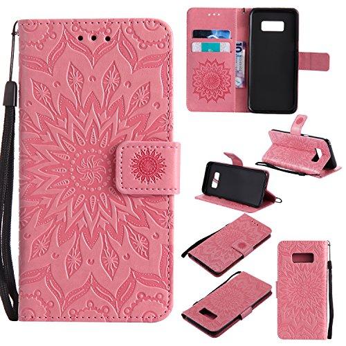 Custodia Galaxy S8 Plus - Dfly Premium PU Goffratura Mandala Design pelle Invisibile Forte chiusura magnetica Design Flip Cover, Per Samsung Galaxy S8 Plus, porpora Rosa