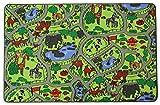 Spielteppich Kinderteppich ZOO Safari Straßenteppich - 95x200cm, Spielmatte, Anti-Schmutz-Schicht, Teppich mit Straßen und Tieren für Jungen & Mädchen