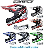 Casque moto WULF SCEPTRE ADULTE MX HELMET moto quad VTT motocross enduro casque sport + X1 lunettes blanc (orange, M)