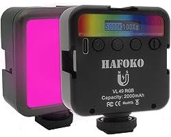 "HAFOKO VL49 Mini RGB LED-Licht Kamera Video Licht Farbe w 3 Kaltschuh 1/4"" Magnetisches Smartphone Vlog Licht 2000mah 2500K-9"