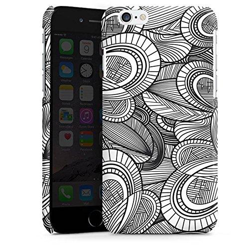 Apple iPhone 5s Housse Étui Protection Coque Feuilles Noir et blanc Gris Cas Premium brillant