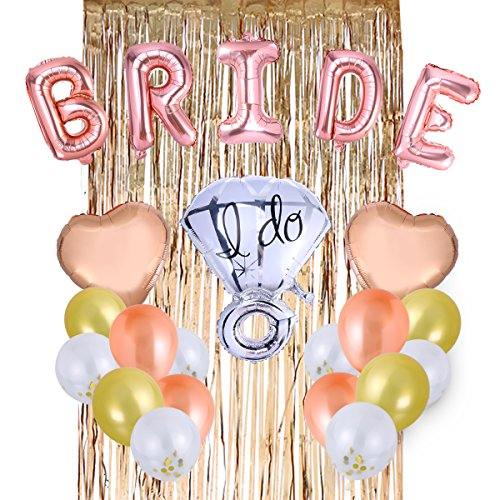 TOYANDONA Bachelorette Party Braut Ballon Diamantring Ballon Herz Konfetti Ballon für Bachelorette Engagement Bridal Shower Partydekorationen liefert