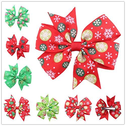 Cuhair (tm) 10pc Noël Ribbon Bow pour cheveux barettes de pince à cheveux broches accessoires pour cheveux pince à cheveux femmes Teens filles Bébés tout-petits