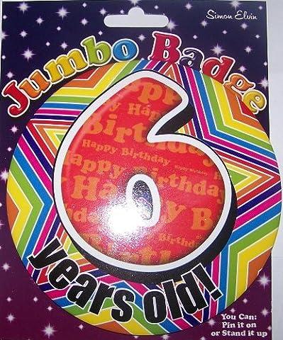1 am 6 birthday badge for boy