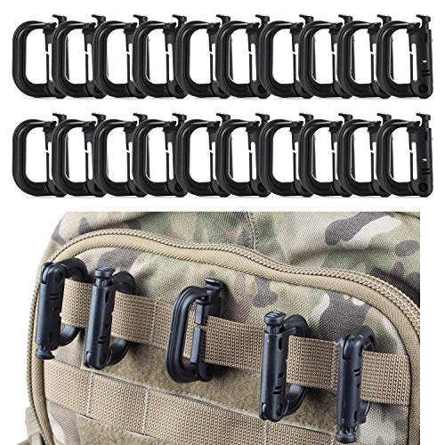61DdIusuhyL. SS500  - Flying swallow 20 Pack Multipurpose D-Ring Grimloc Locking for Molle Webbing with Zippered Pouch