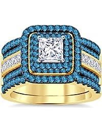 Silvernshine Enhancer Ring Guard & Engagement Ring Set Yellow Gold Plated Aquamarine Sim Diamonds