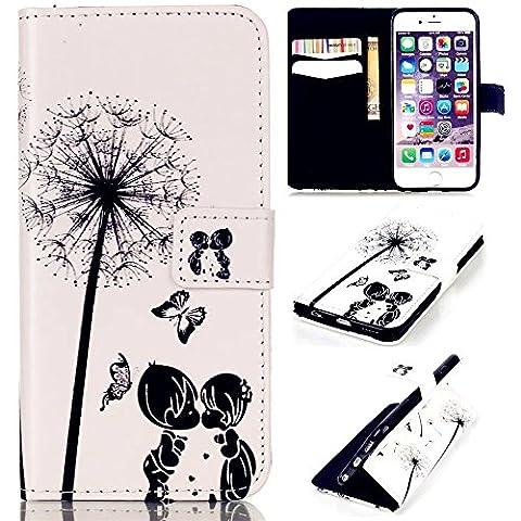 TKSHOP Etui Coque pour iPhone 6 Plus / 6S Plus Pochette Protection PU Cuir Wallet Flip Etui Housse Magnetique Fonction Stand Anti-scratch Carte Slots + Stylet Touch Pen - Dandelion Pissenlit Couple