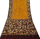 Vintage indische reine Seide Gelb Saree Batik Printed
