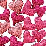 Weddix Sisalherzen als Streudeko - Tischdeko Hochzeit, romantische Deko Herzen für Valentinstag, Liebeserklärung und Heiratsantrag, rosa pink - 2