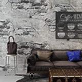 XKJFZ Wand-Papier Ziegelstein-Muster-Tapete Nostalgic Grau Cement Brick Wall Industrie Wind Cafe Restaurant Hintergrund Dekor-Vinylwand Paperfor Wanddekoration