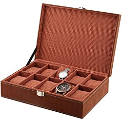 10-Slot PU Leather Designer Watch Case Decorative Organizer Box-Choose Colour