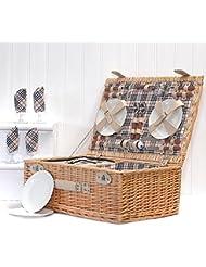 Fine Food Stor The Grosvenor - Cesta de mimbre de picnic, para 4personas, con compartimentos y accesorios incluidos