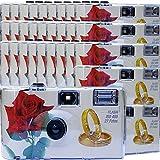 30 x Photo PORST boda Cámara/cámara desechable 'Rosa Roja + anillos' (con flash luz y pilas, por...