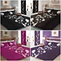 Just Contempo Floral Duvet Cover Set, Double, Black - low-cost UK light shop.