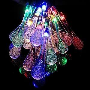 GRDE® 20LED cristallo goccia d' acqua catena di luci lampade, impermeabile e alimentata da energia solare, ADDOBBI NATALIZI DECORAZIONE lampada per giardino, patio, alberi, le vacanze, feste, Outdoors multicolore