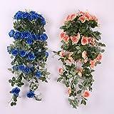 Colgante Artificial Rosa Flor Plantas Romatic Decoración Pared Boda Partido Hogar - Champán