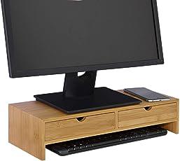 SoBuy® FRG198-N Monitor Bildschirm Ständer Monitorerhöhung Bildschirmerhöher Monitorständer Tischaufsatz aus Bambus mit 2 Schubladen