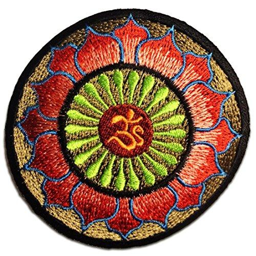 Om Zeichen Om Symbol Yoga Om Meditation Spiritual Hindu Symbol Hartha Yoga Inner Peace Gold Braun Rosa Rot Lotus Patch ''7,9 x 7,9 cm'' - Aufnäher Aufbügler Applikation Applique Bügelbilder Flicken Embroidered Iron on Patches - Jeans Peace-zeichen