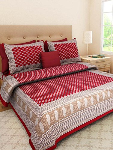 Bed-Zone-100-Cotton-Jaipuri-Rajasthani-Tradition-King-Size-Double-Bedsheet-with-2-Pillow-Cover